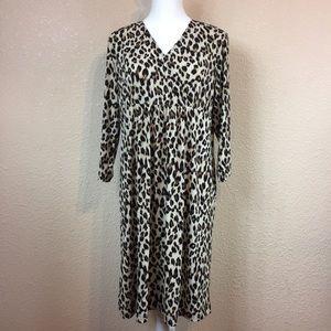 Chico's Animal Print V-Neck 3/4 Sleeve Dress Sz 3